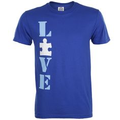 """This Autism Speaks Love t-shirt is perfect for men or women,  durable, and extremely comfortable. Show your love for someone with autism and promote autism awareness with the """"love"""" design with puzzle piece """"o"""". Buy here: http://shop.autismspeaks.org/autism-speaks-love-tee"""