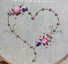 Wonderful Ribbon Embroidery Flowers by Hand Ideas. Enchanting Ribbon Embroidery Flowers by Hand Ideas. Hand Embroidery Patterns Flowers, Embroidery Leaf, Embroidery Hearts, Hand Embroidery Videos, Embroidery Stitches Tutorial, Silk Ribbon Embroidery, Hand Embroidery Designs, Cross Stitch Embroidery, Embroidery Kits