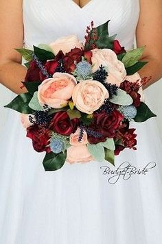 Blue Wedding Flowers Burgundy, peach and navy blue wedding brides bouquet perfect for a fall themed wedding with lots of greenery Burgundy Wedding Flowers, Fall Wedding Bouquets, Wedding Flower Arrangements, Bride Bouquets, Bridal Flowers, Flower Bouquet Wedding, Floral Wedding, Wedding Colors, Flower Bouquets