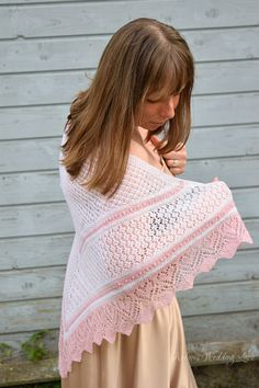 Wedding Shawl with Heart pattern Traditional by ArtanisWeddingLace
