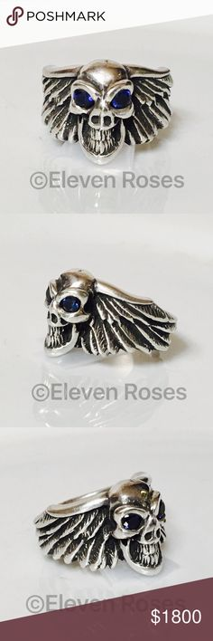 Bill Wall Leather 925 Winged Skull Sapphire Ring Men's Bill Wall Leather Custom Winged Skull Ring  -  925 Sterling Silver - Blue Sapphire Gemstone Eyes - US Size 10 -  An Incredible Statement Piece -  Excellent Preowned Condition -    📷  Listing Images Are Of Actual Item Being Offered Bill Wall Accessories Jewelry