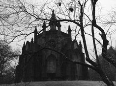 A Victorian-era mausoleum in the Gothic revival style, amid falling snow on the first day of Spring. Gothic Aesthetic, Slytherin Aesthetic, Gothic Buildings, Gothic Architecture, Dracula, Duomo Milano, Dark Castle, Arte Obscura, Dark Paradise