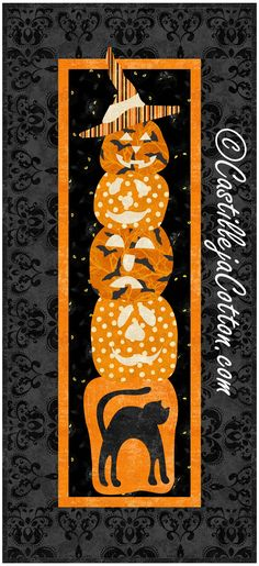 """Quilt pattern features easy to make Halloween pumpkins. Finished Sizes: Wall Hanging 12.5"""" x 27.5"""" Skill Level: Advanced Beginner Technique: Pieced/Fusible Applique Halloween Patterns, Halloween Pumpkins, Quilt Patterns, Applique, Quilts, Wall, Halloween Gourds, Quilt Pattern, Quilt Sets"""