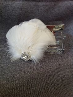 Pale Blush Feather Fan Bridal Hair Ornament by AtelierEight, $32.00