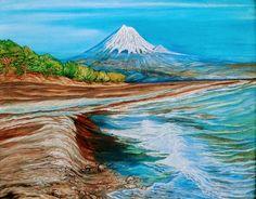 Mount Fuji Volcano - Oils Art Mountain Art, Mount Fuji, Nature Animals, Volcano, Sunshine, Fine Art, Mountains, Water, Travel