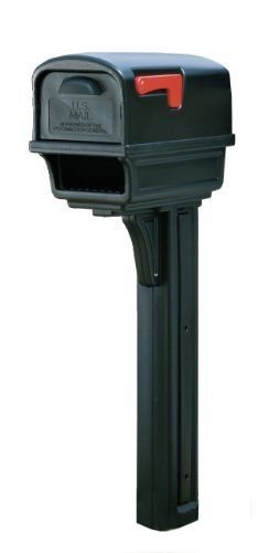 Solar Group GC1B0000 Large Deluxe Plastic Mailbox and Post Combo, Black by Solar Group. $59.97. From the Manufacturer                This Solar Group Gentry All-In-One Mailbox & Post Combo features a virtually indestructible double-wall plastic construction. The mailbox has a rear door for safe mail retrieval, keeping children and adults away from traffic. It is large enough to allow magazines to lay flat. The post features a built-in compartment for newspapers or small parc...