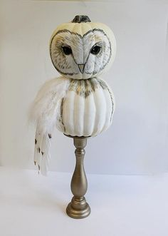 This is a such a fresh and creative no-carve owl pumpkin idea by DecoArt & 60+ Pumpkin Decorating Ideas and Designs for Halloween   Pinterest ...