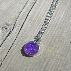 Silver Chain druzy pendant by BeadsNyarn on Etsy