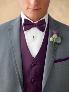 Plum vests, bow ties and pocket squares.