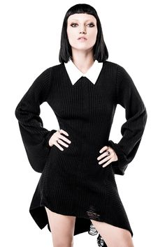 Hellda Knit Dress. Soft rib-knit with asymmetrical shape, distress detailing and angel-sleeves - and contrasting white collar to set the whole piece off. #KILLSTAR ,#knitdress, #grungeclothing, #gothclothing, #nugoth, #killstarco