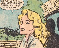 "Comic girls say.. "" So tonight I'll go home alone. Thank you and good night ""   #Vintage #Comic, #Pop Art"