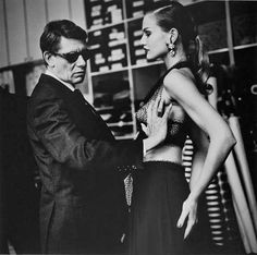 Helmut Newton, Yves Saint Laurent in his atelier, Paris, 1991