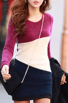 Color Blocking Cotton Sweater Dress