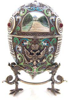 Vintage Russian Silver Egg Feodor Ruckert