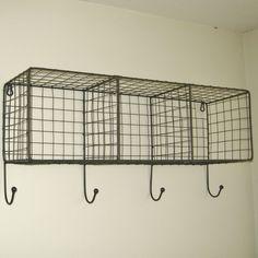 Metal Wire Locker Room Wall Shelf Hooks Storage Basket Vintage Industrial Style #Unbranded #Vintageindustrialurbanchicretroloft