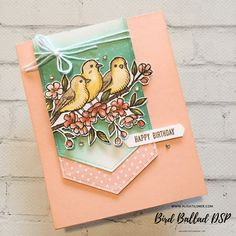 Bird Ballad DSP being featured, from Stampin' Up!, created by Alisa Tilsner Karten Diy, Hand Stamped Cards, Wink Of Stella, Stampin Up Catalog, Bird Cards, Stamping Up Cards, Pretty Cards, Cool Cards, Flower Cards