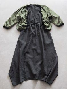 Origami dress in charcoal linen with Jaeger spot silk cardigan.  www.sarkstudio.com.au