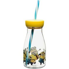Minions Milk Bottle Tumbler with Straw, Multicolor