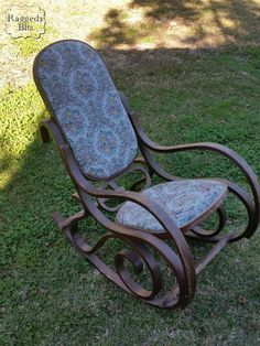 Vintage Bentwood Rocking Chair Gets A New Look With Chippy Paint And  Upholstery By Raggedy Bits