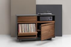 Symbol Audio's AERO Cabinet Program allows you to customize premium hardwood media furniture to your exact specifications. Build your AERO Cabinet today! Crate And Barrel Tv Stands, Pallet Tv Stands, Record Player Cabinet, Stereo Cabinet, Tv Furniture, Furniture Making, Gothic Furniture, Vinyl Record Storage, Lp Storage