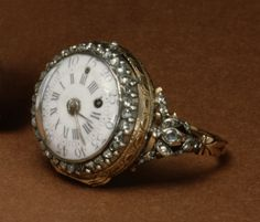 Vintage Watch Ring watch, French, The white dial is surrounded by a ring of brilliants. The stones are mounted to form floral sprays on the pierced shoulders of the ring. Antique Watches, Antique Clocks, Vintage Watches, Antique Jewelry, Vintage Jewelry, Jewelry Box, Jewelry Watches, Fine Jewelry, Jewelry