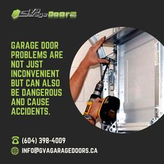 Garage door problems are not just inconvenient but can also be dangerous and cause accidents. So, don't try to be a DIYer with your broken cable, spring or opener! Instead, call GVA Garage Doors for professional garage door repair in Vancouver. (604) 398 4009 #garagedoorrepair #garagedoorservice #garagedoor #garagedooropener #newgaragedoor #repair #homeimprovement #garagedoorparts #garagedooropeners #overheaddoors #garagedoorinstall #garagedoorspringrepair #homeowners #gvagaragedoors #Canada Garage Door Parts, Garage Door Company, Garage Door Opener, Garage House, Garage Doors, Garage Door Spring Repair, Garage Door Installation, The Doors, Prompts