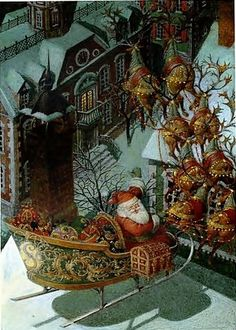 Gennady Spirin,Clement Clarke Moore, The Night Before Christmas Vintage Christmas Images, Whimsical Christmas, Victorian Christmas, Retro Christmas, Vintage Holiday, Christmas Pictures, Primitive Christmas, Country Christmas, Christmas Scenes
