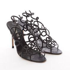 Sehr feminine Sandaletten von Manolo Blahnik in Schwarz Gr. EU 39