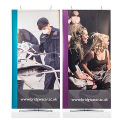Create small exhibition stand displays by joining two banner stands together to create a larger seamless pop-up banner / graphic wall back drop. Pop Up Banner, Model Supplies, Laser Cut Steel, Display Banners, Poster Display, Corporate Interiors, Banner Stands, Reception Areas, Trade Show