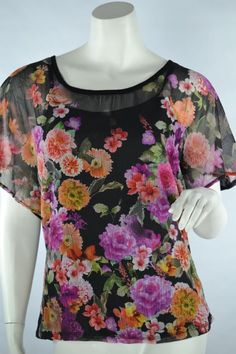 Style&Co 2 Piece Pull Over Tunic Blouse & Cami Tank Night Garden Black/Floral XL #Styleco #TunicCami #CasualCareer