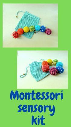 Montessori sensory balls / Toddler activity crochet rattle and storage bag / Waldorf crochet toy / Baby development toys Crochet Ball, Crochet Toys, Organic Baby Toys, Crochet Storage, Rainbow Crochet, Developmental Toys, Baby Development, Kids Hands, Learning Colors