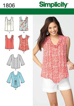 """misses' pullover top with bodice and sleeve variations and optional ruffle details. simplicity sewing pattern.<br><br><img src=""""skins/skin_1/images/icon-printer.gif"""" alt=""""printable pattern"""" /><a href=""""#"""" onclick=""""toggle_visibility('foo');"""">printable pattern terms of sale</a><div id=""""foo"""" style=""""display:none; margin-top: 10px;"""">digital patterns are tiled and labeled so you can print and assemble in the comfort of your home. plus, digital patterns incur no shipping costs! upon purchasing a…"""