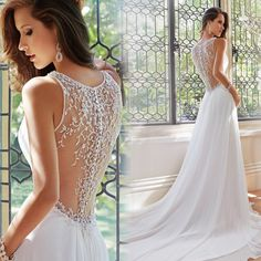 Cheap lace wedding dress, Buy Quality weeding dress 2016 directly from China see through wedding dresses Suppliers:  White Chiffon Vintage Weeding Dresses 2016 Sexy See Through With Brilliant Crystal Back Weeding Gowns Lace Wedding Dres