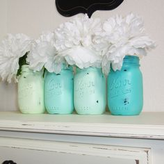 4- Hand Painted Pint Mason Jar Flower Vases-Seafoam Collection-Country Decor-Cottage Chic-Shabby Chic-French Chic. $25.00, via Etsy.