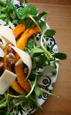 Pea Shoot, Sunflower Sprout and Roasted Squash Salad