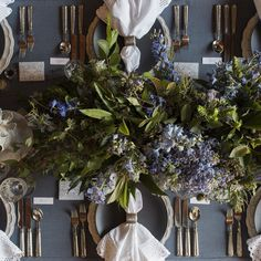 Blue, grey and muted gold come together in this country table design. See more at http://coastallifestyle.com.au/table-settings-centrepiece-design/ with gorgeous coastal entertaining ideas.