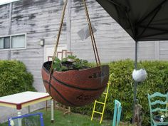 Creative DIY Garden Containers and Planters from Recycled Materials --> Basketball Hanging Planter Recycled Planters, Recycled Garden Art, Diy Planters, Garden Planters, Hanging Planters, Hanging Baskets, Planter Ideas, Glass Garden, Recycled Glass