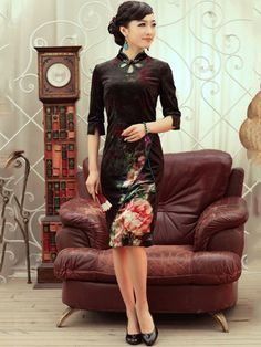 Burgundy Knee Length Stretch Velour Qipao / Cheongsam / Chinese Dress