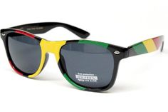 Rasta Reggae Snoop Lion Bob Marley Style Wayfarer 80s Sunglasses W54 Black/yellow/red