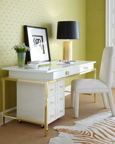 The Astor Desk, with brass frame and the rolling chest underneath.Part of the new Lilly Collection.