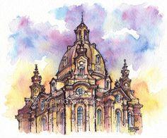 #dresden #germany #frauenkirche #church #architecture #building #ink #fineliners #watercolor #watercolorpencils #ewelinakuczera #fabercastell #albrechtdurerpencils #blue #violet #yellow #urbansketch #sketch painting #art #illustration