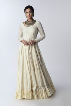 Featuring an ivory kalidaar anarkali enhanced with the frills at edges ensembled with the pure organza foiling dupatta. Color: Ivory Fabric: Organic Cotton; Organza Care: Dry Clean Only Cotton Anarkali, Anarkali Gown, White Embroidery, Occasion Wear, Organic Cotton, Indian Outfits, No Frills, Ivory, Gowns