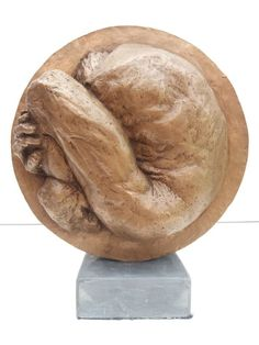 Bronze resin #sculpture by #sculptor Marc Bodie titled: 'Manshaped Moon (Abstract Curled Up Man in Moon statue)'. #MarcBodie