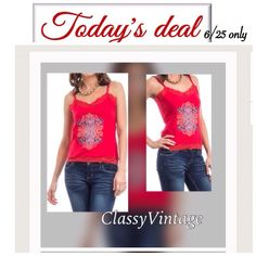 Red tank top Red cotton tee. Beautiful art on front and adjustable straps. Lace edged neckline and bottom. Runs true to size. Model is wearing size small and she wears XS. Boutique Tops Tank Tops