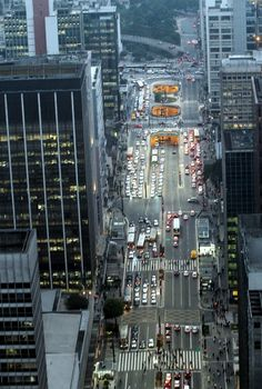 Final stretch of Paulista Ave. leading to Consolação street and Pacaembu Stadium. São Paulo, Brazil