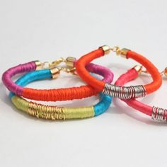 Make these fun and bright bracelets with rope, embroidery thread, and jump rings!