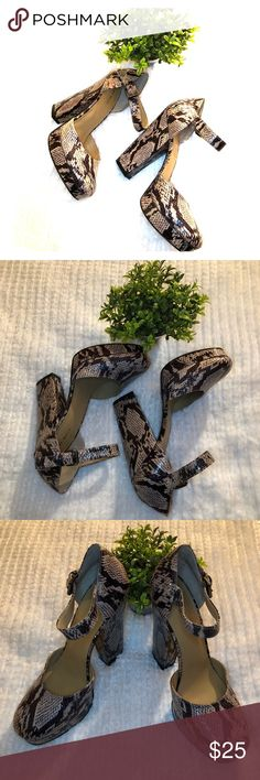 Nine West snakeskin block heels Size 9 Snakeskin super high heels Measurements in pictures  In great used condition Nine West Shoes Heels