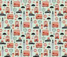 London city travel icon umbrella big ben and red bus illustration Great Britain pattern fabric by littlesmilemakers on Spoonflower - custom fabric