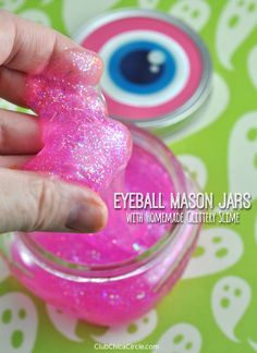 Homemade Glitter Slime for Halloween party for kids by Club Chica Circle.