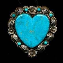 Native American Heart Pin / Pendant Sterling Silver Turquoise